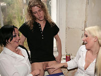 Two horny girls strip and laugh at their decorator for having a tiny dick